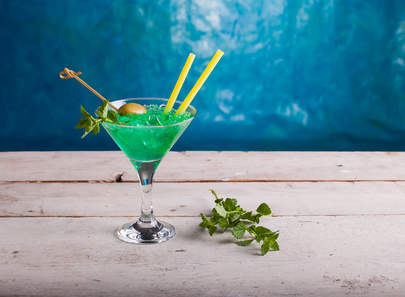 Delicious mint cocktail on the white table